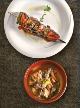Το κρέας στο επίκεντρο: Χοιρινό Κοντοσούβλι με σαγανάκι μανιταριών